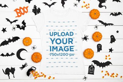 T-Shirt Mockup Featuring Spooky Halloween Decorations m95