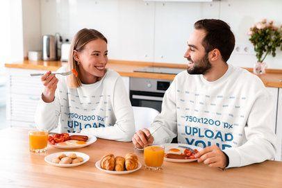 Crewneck Sweatshirt Mockup of a Couple Eating Breakfast Together 40241-r-el2