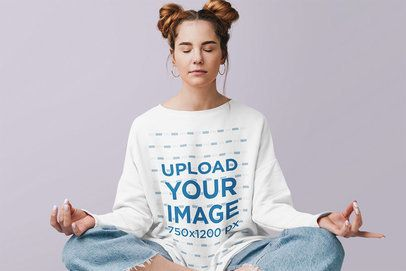 Crewneck Sweatshirt Mockup of a Woman Meditating in a Studio 39820-r-el2