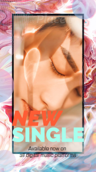 Instagram Story Video Maker for a Pop Artist's New Single with Animated Textures 2225