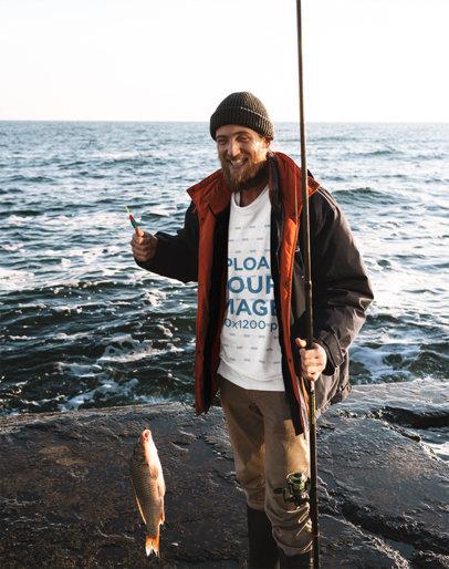 Sweatshirt Mockup of a Fisherman Showcasing a Catch 35493-r-el2