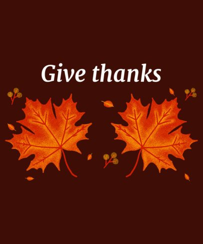 T-Shirt Design Maker for Thanksgiving Day Featuring Two Fall Leaves 3008f