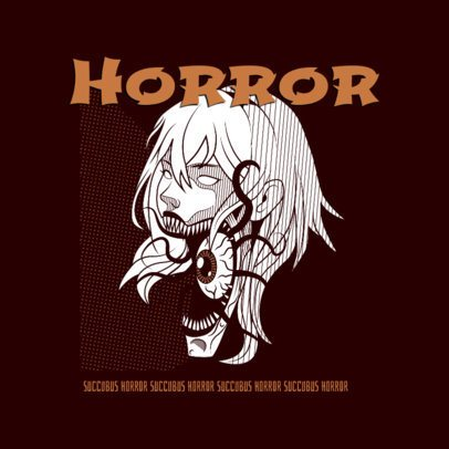 Anime-Style Logo Template with a Scary Girl Graphic 3723g