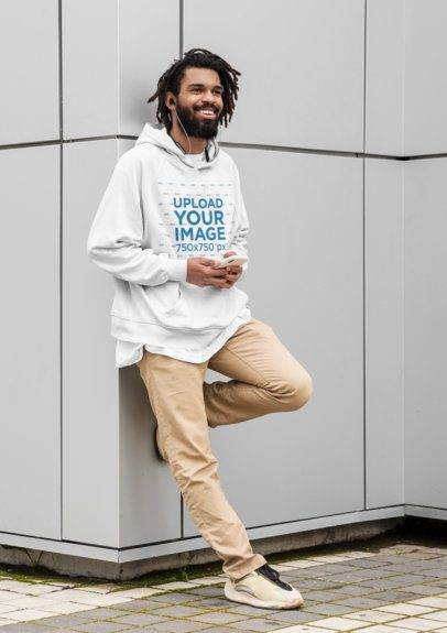 Hoodie Mockup of a Cool Man Leaning on a Wall 41725-r-el2