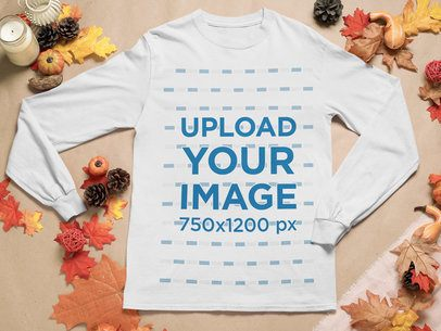 Mockup of a Long Sleeve Tee Surrounded by Fall Decorations m52