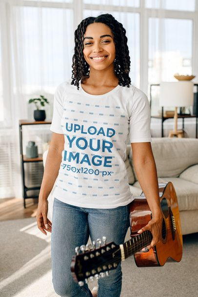T-Shirt Mockup Featuring a Young Woman Holding a Guitar 39158-r-el2
