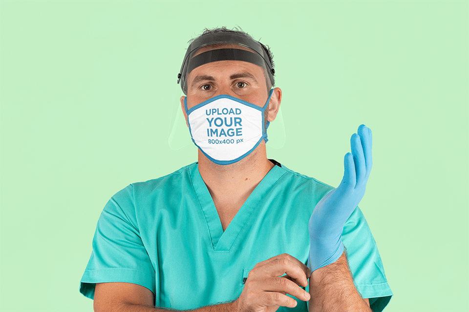 Face Mask Mockup Featuring a Health Worker m207