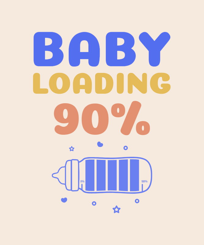 Maternity T-Shirt Design Template Featuring an Expected Baby Progress Bar 3038o