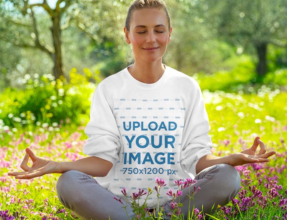 Round Neck Sweatshirt Featuring a Woman Meditating Outdoors 38714-r-el2