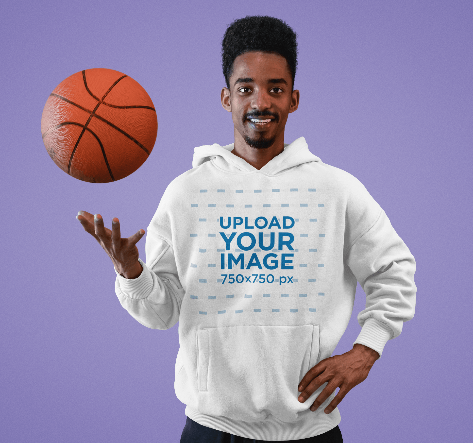 Hoodie Mockup Featuring a Basketball Player at a Studio 40942-r-el2