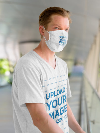 V-Neck T-Shirt Mockup of a Serious Man Wearing a Face Mask 44016-r-el2