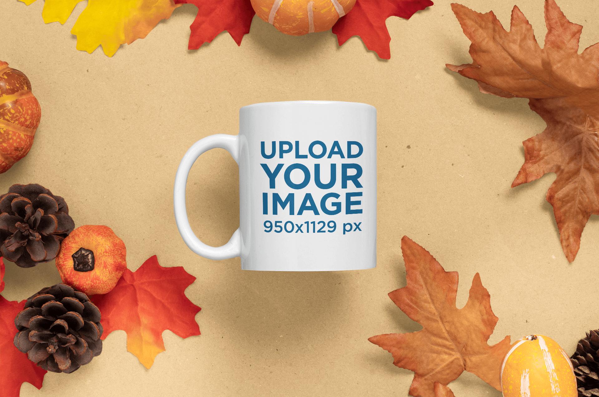 Mockup of an 11 oz Coffee Mug Surrounded by Fall Season Leaves m58