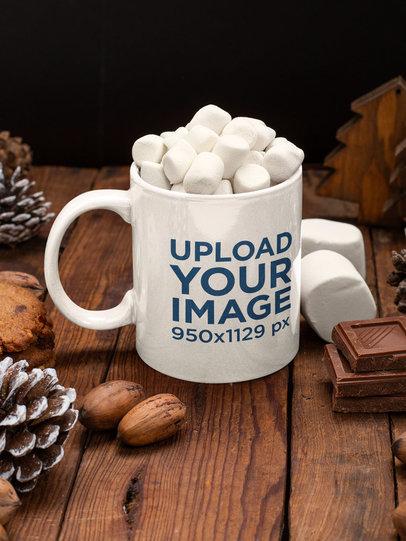 Mockup of an 11 oz Coffee Mug Featuring Winter-Season Sweets m173