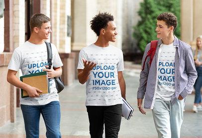 T-Shirt Mockup of Three Students Hanging Out 40075-r-el2