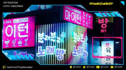 Cyberpunk-Themed Twitch Overlay Creator with Korean Graphics 3058c