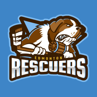 Hockey Logo Template with a Hockey Dog Mascot Clipart 1560a