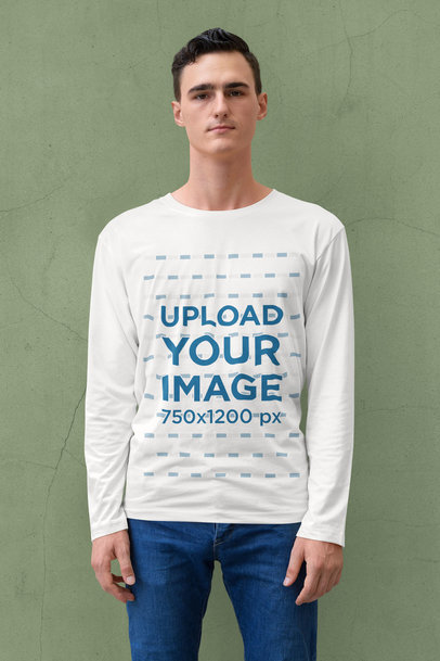 Long Sleeve Tee Mockup Featuring a Serious Young Man 40307-r-el2