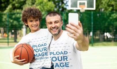 T-Shirt Mockup Featuring a Dad and His Son Taking a Selfie at a Basketball Court 43684-r-el2