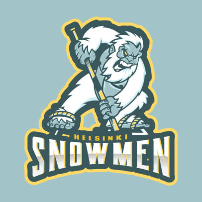 Hockey Logo Design Template with Hockey Yeti Mascot Illustration 1560e