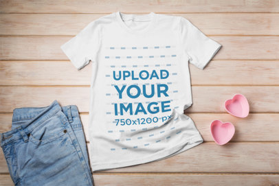 Mockup of a T-Shirt Laid on a Girly Rustic Scenery 41367-r-el2
