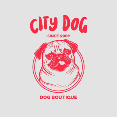 Pet Boutique Logo Template Featuring a Pug Graphic 3776i