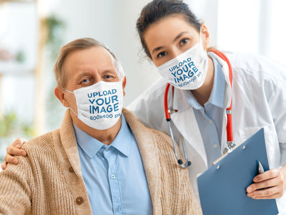 Face Mask Mockup Featuring a Female Doctor with Her Elderly Patient 44270-r-el2