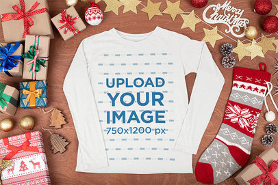Long Sleeve Tee Mockup Surrounded by Christmas Paraphernalia m30