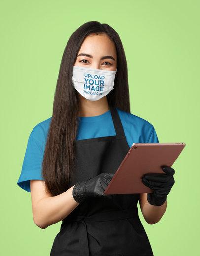 Face Mask Mockup Featuring a Waitress in a Studio 43988-r-el2