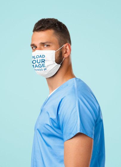 Face Mask Mockup of a Young Doctor at a Studio 43976-r-el2