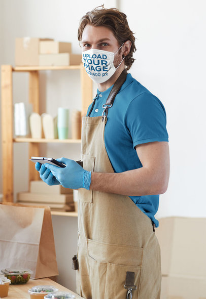 Face Mask Mockup of a Waiter Taking Food Orders 44213-r-el2