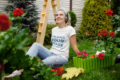 T-Shirt Mockup Featuring a Woman Resting in Her Garden 44049-r-el2