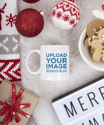 Mockup of an 11 oz Mug Placed on a Christmas-Decorated Surface m43