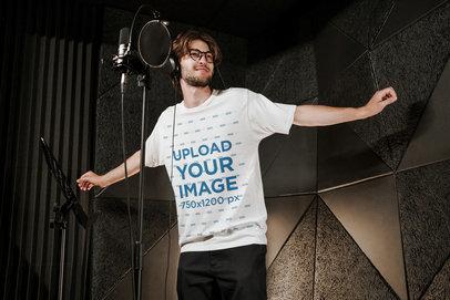 T-Shirt Mockup Featuring a Music Artist at a Studio 39768-r-el2