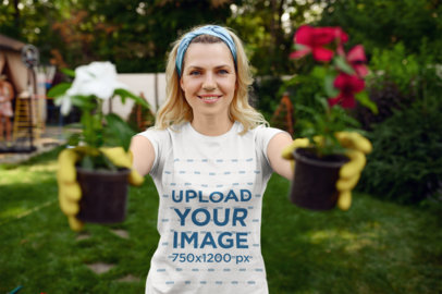 T-Shirt Mockup Featuring a Female Gardener Holding Two Flower Pots 44052-r-el2