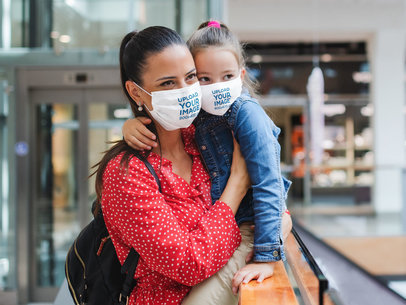 Face Mask Mockup of a Mother and Her Daughter at a Mall 44602-r-el2