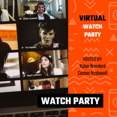 Instagram Post Design Template Featuring an Announcement for a Virtual Watch Party 3095a