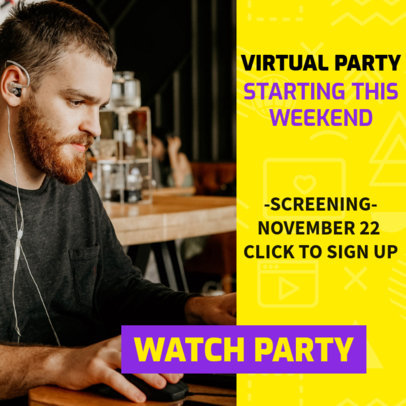 Minimal Instagram Post Design Template to Announce a Watch Party Event 3095g