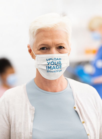 Mockup Featuring a Senior Woman With a Sublimated Face Mask 44690-r-el2