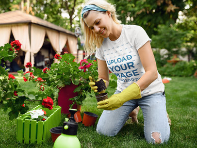 T-Shirt Mockup of a Woman Planting Flowers 44050-r-el2