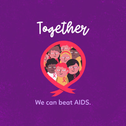 Cause Instagram Post Maker with a Cute Illustration for World AIDS Day 3098a