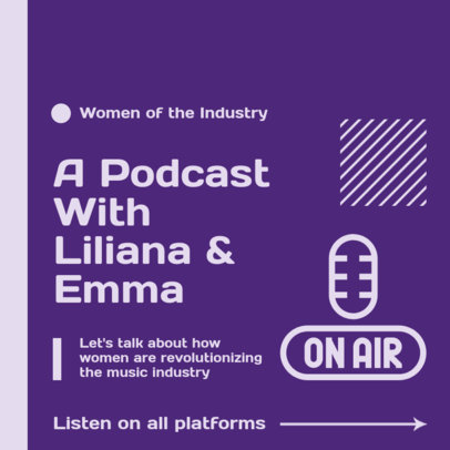 Instagram Post Design Template for a Podcast About Music and Women 3072d-el1