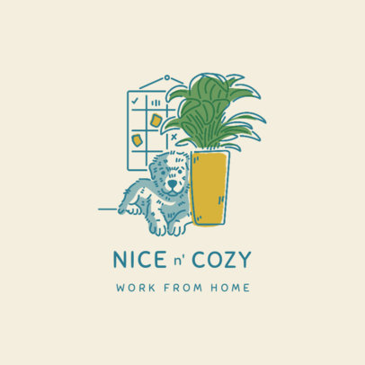 Illustrated Logo Generator Featuring a Dog Resting by an Indoor Plant 3787f