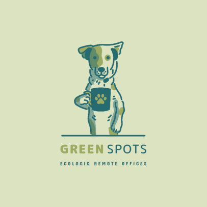 Logo Template for Coworking Companies Featuring a Dog Drinking Coffee 3787h
