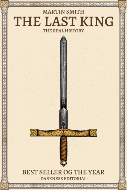 Book Cover Template for a Medieval Novel Featuring Sword Graphics 3133