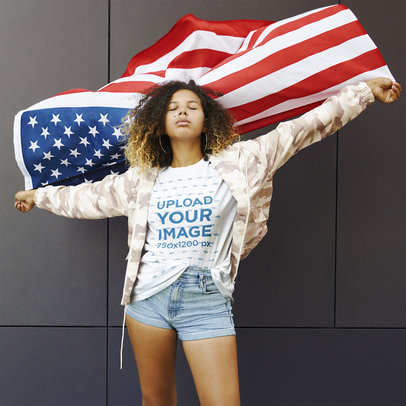 Mockup of a Woman with a Basic T-Shirt Waving an American Flag 44661-r-el2