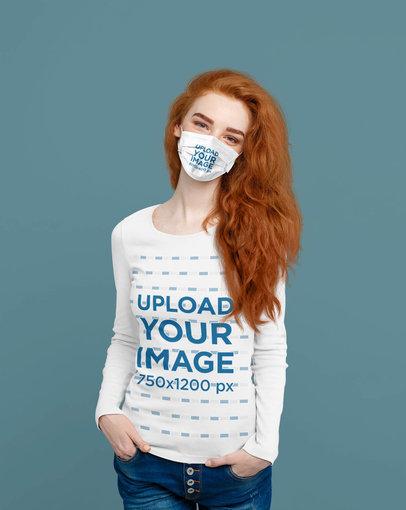 Face Mask Mockup of a Woman Wearing a Long Sleeve Tee at a Studio 40887-r-el2