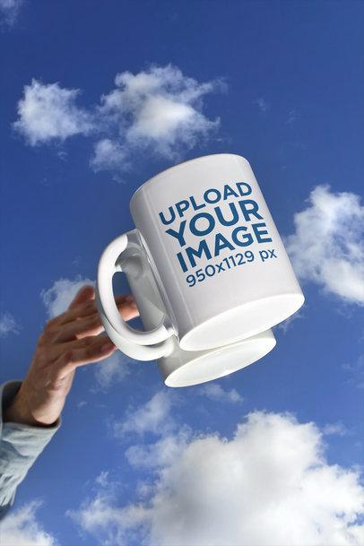 11 oz Coffee Mug Mockup Featuring a Surface Reflecting the Sky m597