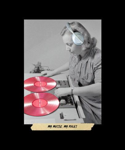 T-Shirt Design Generator Featuring a B&W Portrait of a Female DJ 3132e