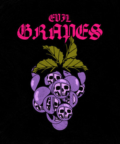 Illustrated T-Shirt Design Template for a Heavy Rock Band Featuring Poisonous Grapes 3127d