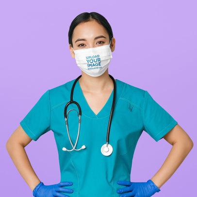 Face Mask Mockup Featuring a Nurse at a Studio 44521-r-el2